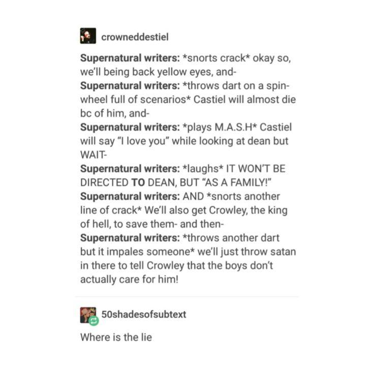 supernatural tumblr textpost destiel funny lol dean winchester castiel cas rowena lucifer casifer sam winchester mary winchester crowley season 12