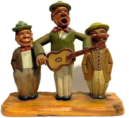 Amusing Vintage ANRI Men Singing Trio Bar Set Can Opener, Corkscrew Cork Stopper