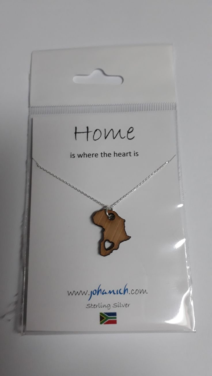 925 Sterling Silver Necklace with Bamboo Africa Pendant on message card