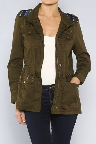 Wildflower | Boutique Military Style Jacket. Love the aztec stitching and studded detail. Cinches at the waist to flatter a figure!