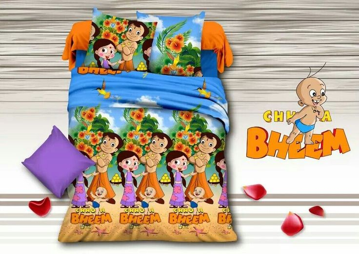 Chhota Bheem and his Dholakpur friends Bed Sheet Kids cartoon glace cotton bedsheet