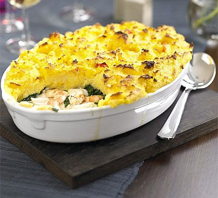 Sounds a little more interesting than normal fish pie, infusing the mash with garlic and saffron.
