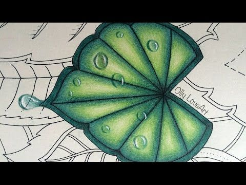 How I colour a leaf with drops in the Magical Jungle colouring book | Selva Magica - YouTube