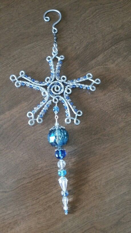 Wire wrapped beaded sun catcher,  snowflake icesicle