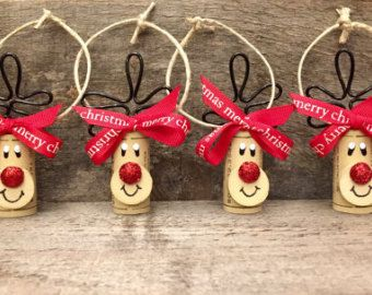 Set of 6 Wine Cork Ornaments Wine Bottle by ReconditionaILove