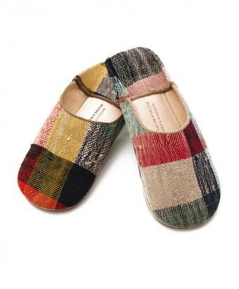 Plaid Wool Babouche Slippers