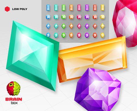 Gems – Baguette / Cushion / Diamond / Oval – Low Poly https://www.assetstore.unity3d.com/en/#!/content/19634