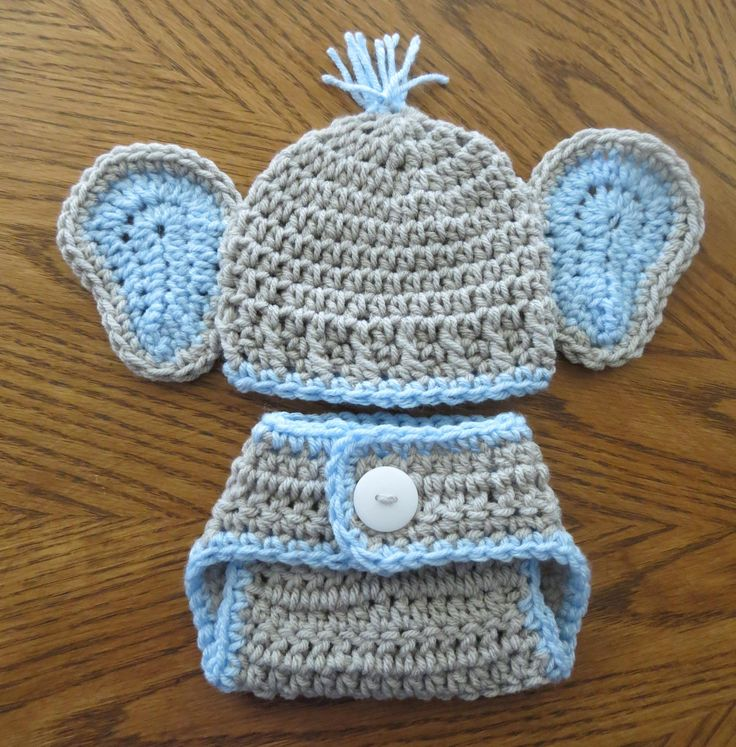 Crochet Baby Elephant Ears Hat, Diaper Cover, Photo Props, Shower Gift, Preemie, Newborn to 3 months, bringing home baby boy, baby girl by kimcrochetcreations on Etsy