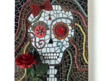 Mosaic Skull Mosaic Wall Art by WareablesbyDesign on Etsy