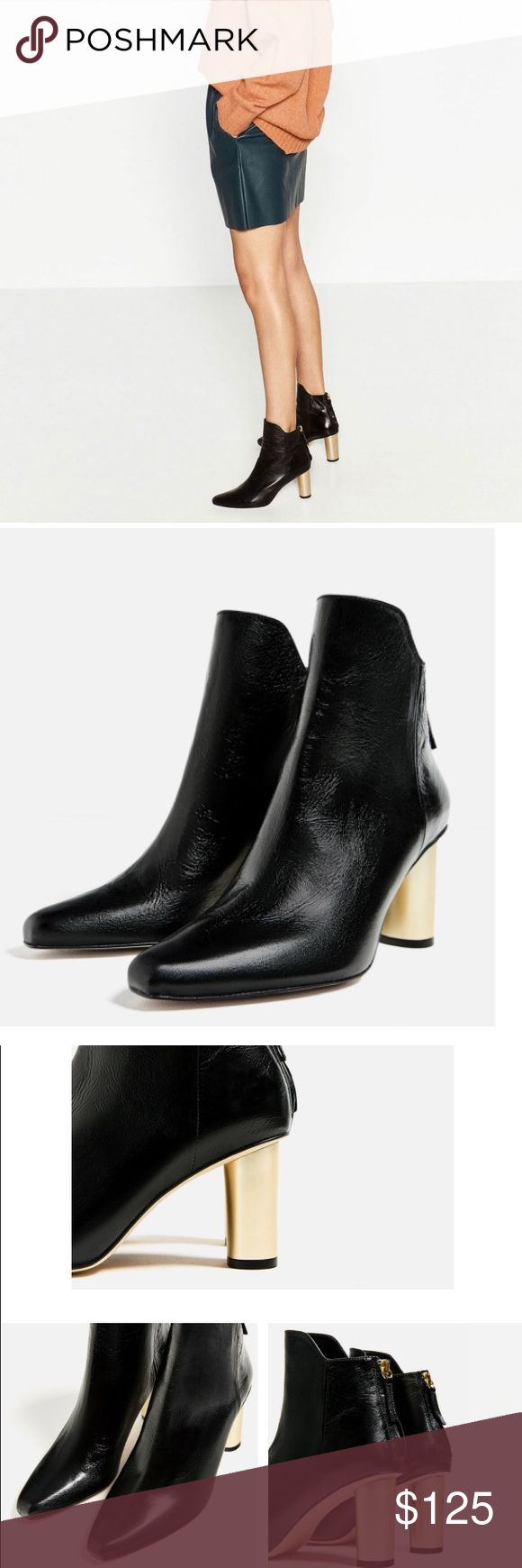 "Black heel ankle boots Super trendy Black heel ankle boots with gold tone heels. Approximately 3"" heels. 100% leather. Zara Shoes Ankle Boots & Booties"