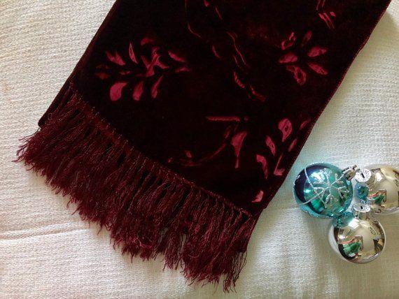 Velvet devore//burn out scarf   Dark red with fringe  NEW