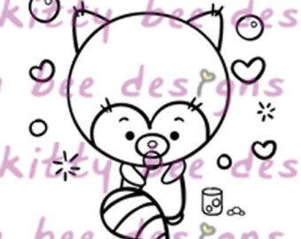 Rode Panda hart bubbels Valentine digitale stempel