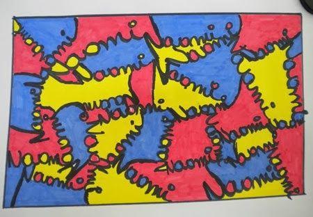 Tekenlesjes: Naamkunst in de kleurtjes van Mondriaan.