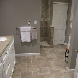 25 best ideas about beige tile bathroom on pinterest beige bathroom mirrors traditional kids for Wall to wall carpet for bathroom