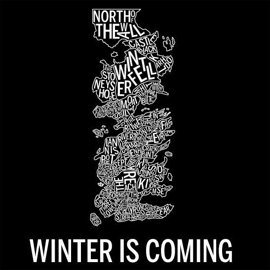Winter is coming negativ svart