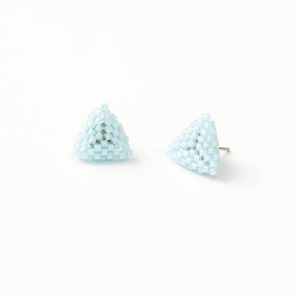 Bay blue beaded triangle stud earrings