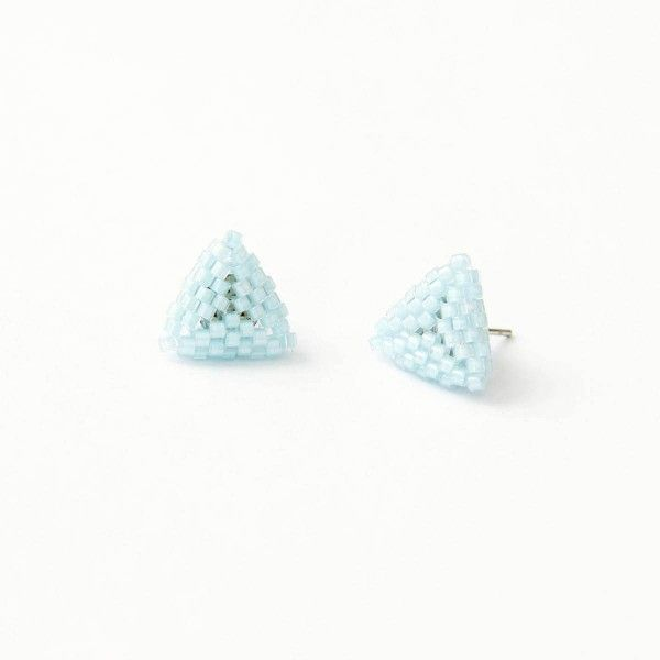 Bay blue beaded triangle stud earrings