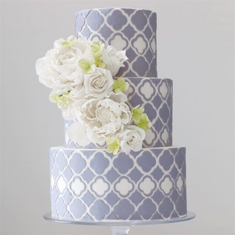 Modern Patterned Cake...Cut and serve a large decorated cake complete with a cascade of sugar flowers over hand-cut patterned fondant.