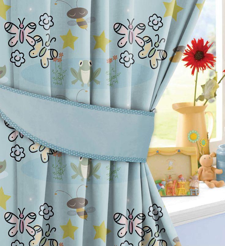 Kids blue nature printed curtains room