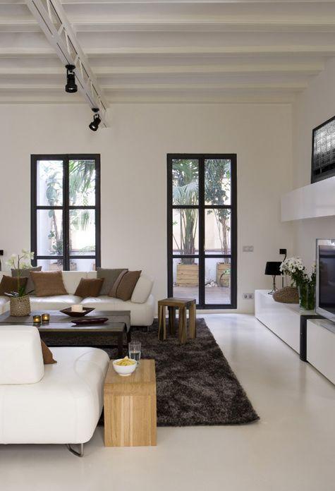 desire to inspire - desiretoinspire.net - New houseinspiration - love the white floors, exposed beams and black windows
