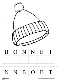 Les vêtements de l'hiver 9 fiches illustrées sur le thème des vêtements de l'hiver avec les mots à reconstituer.