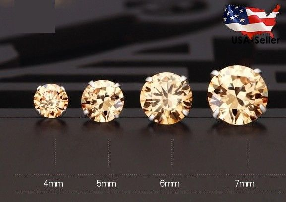 Men Stud Earrings CZ Cubic 4mm 5mm 6mm 8mm Black Pink White Gold Plated