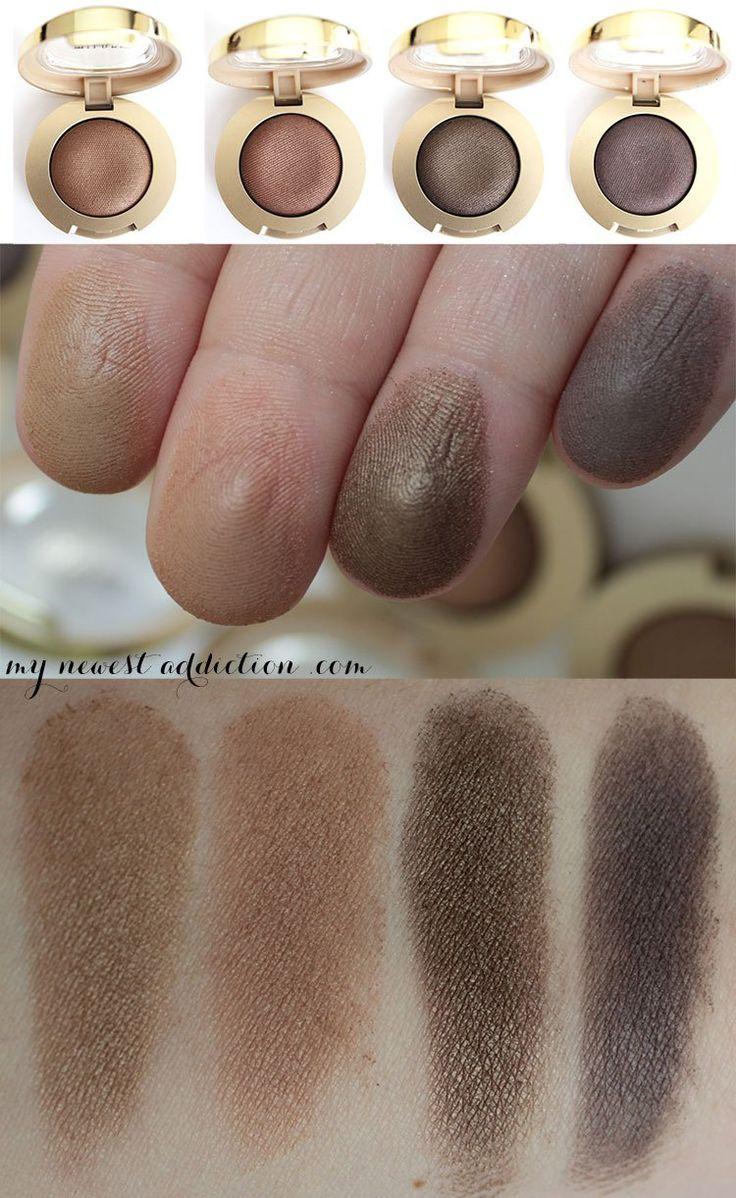 Swatches of the Milani Cosmetics Bella Gel Powder Eyeshadows