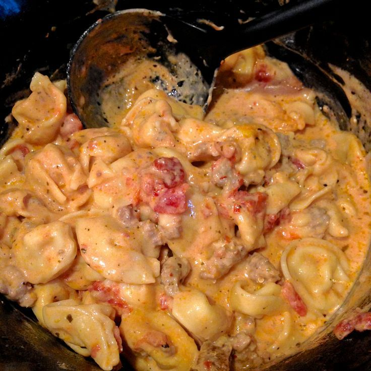 Crockpot cheesy tortellini soup--Easy dinner, just add a salad and garlic bread!