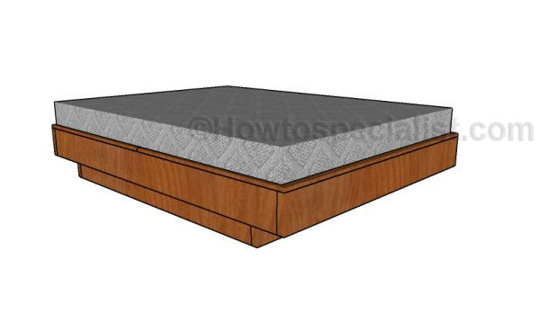Floating queen size platform bed plans howtospecialist for Floating platform bed plans