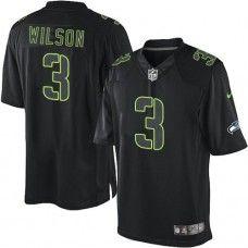 Men's Black Nike Elite Seattle Seahawks #3 Russell Wilson Impact NFL Jersey  $129.99