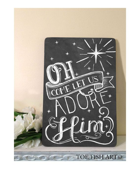 Oh Come Let Us Adore Him Wood Signs Christmas Signs Wood: O Come Let Us Adore Him Sign, Christmas Decor, Word Art