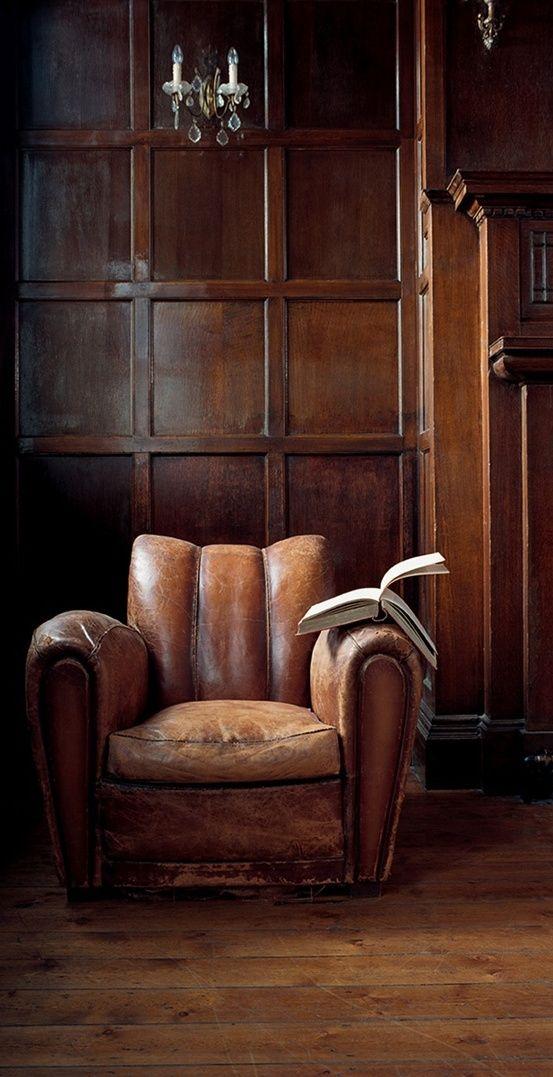 Leather overstuffed chair  (dark paneled den / library)