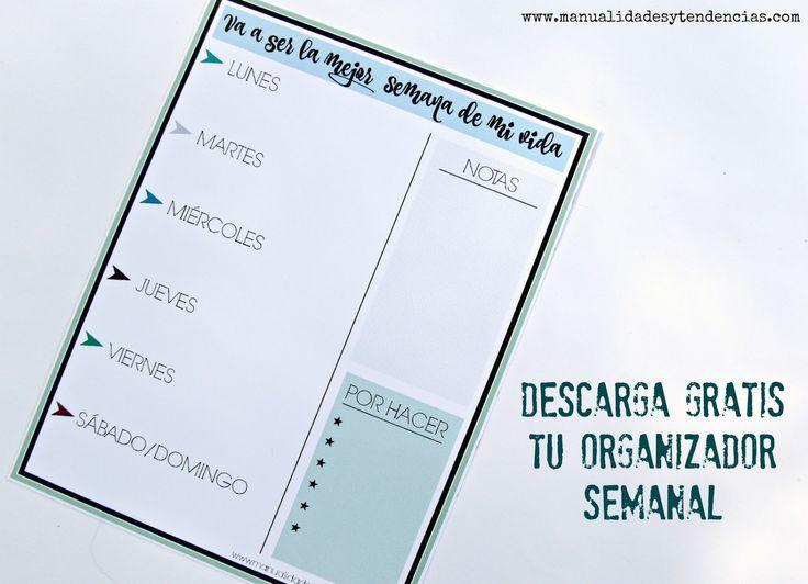 Organizadores semanales #imprimibles #gratis www.manualidadesytendencias.com #planning #agenda #organizador #semana