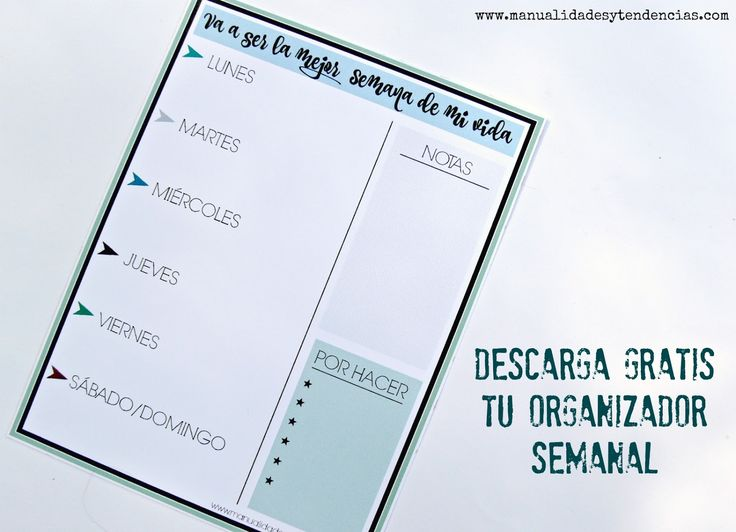 Organizadores semanales #imprimibles #gratis www.manualidadesytendencias.com…