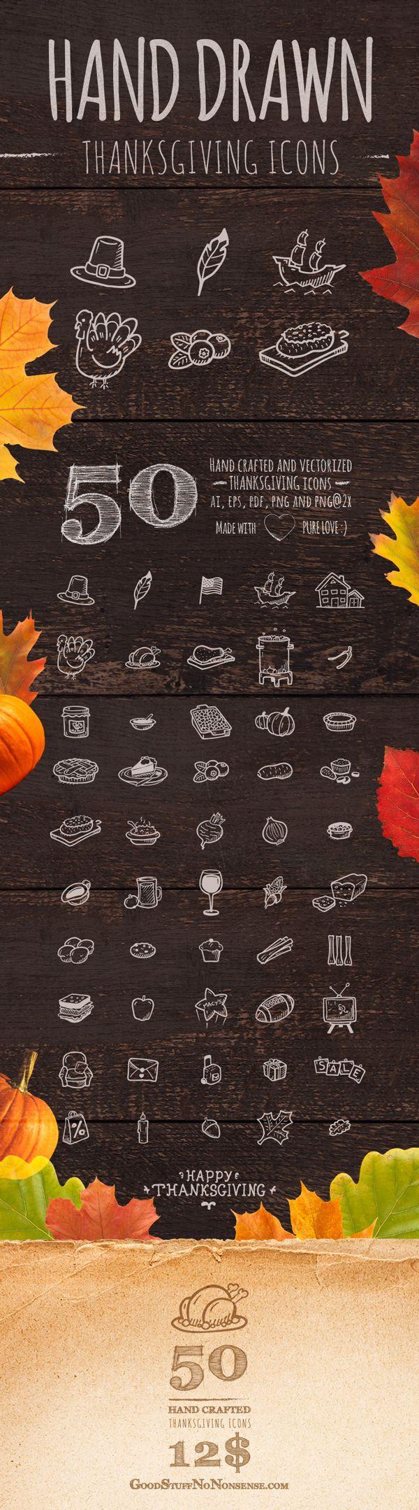 50 Thanksgiving Icons by Agata Kuczminska