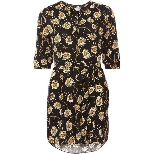 Dorothy Perkins Petite floral shirt dress ($46) ❤ liked on Polyvore featuring dresses, petite, yellow, petite shirt dress, yellow floral dress, rayon dress, yellow shirt dress and long shirt dress