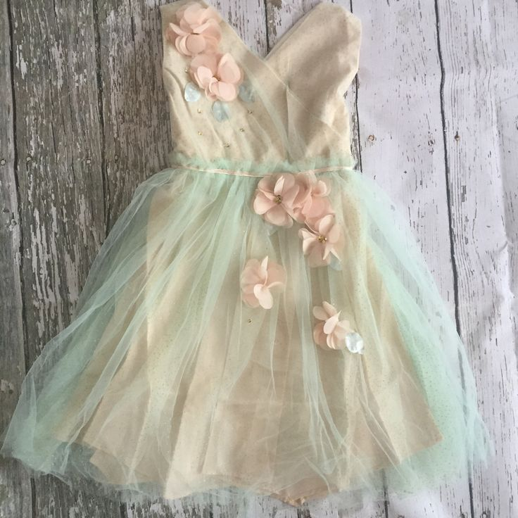 "The ""Heather"" Mint + Beige Flower Embellished Girls Dress"