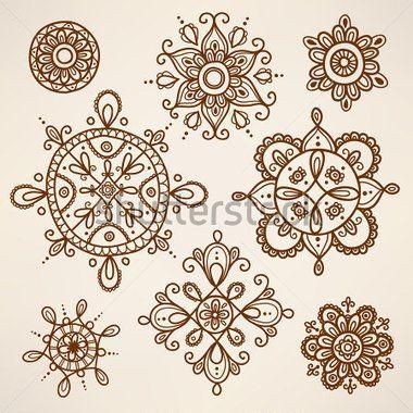 Henna tattoo elements