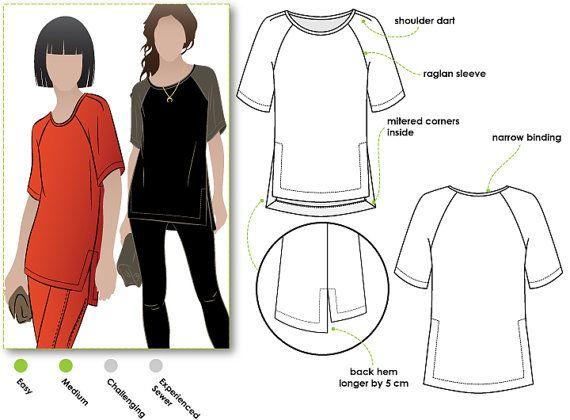 Meg Raglan Tee  Sizes 16 18 20  Woven Top PDF Sewing by StyleArc