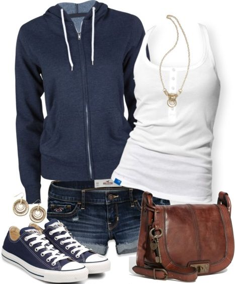 Simple, summer look. White tank, blue sneakers and zip-up hoodie. Denim shorts and leather shoulder bag.