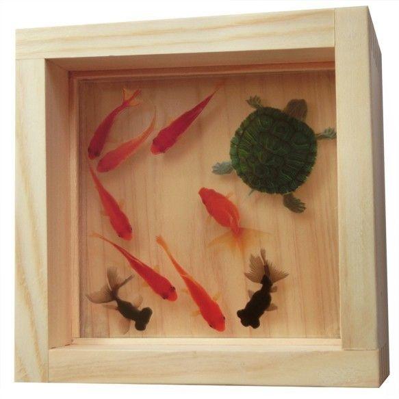 金魚アート 3Dまめ金工魚 「福huku」 アクリル樹脂 3D金魚 東濃桧の画像1枚目