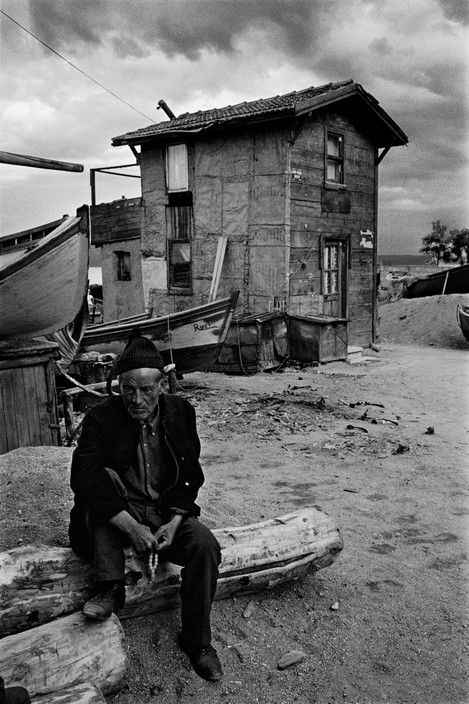 Ara Guler TURKEY. Buyukdere. A fisherman and his cottage on the European coast of the Bosphorus. 1962.