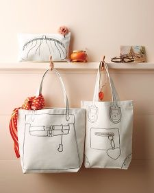 Using clip art printed onto fabric transfers, you can turn a plain tote into a witty style statement. (here is handbag clip art download http://images.marthastewart.com/images/content/web/pdfs/2012/trompe-l'oeil-handbag.pdf)