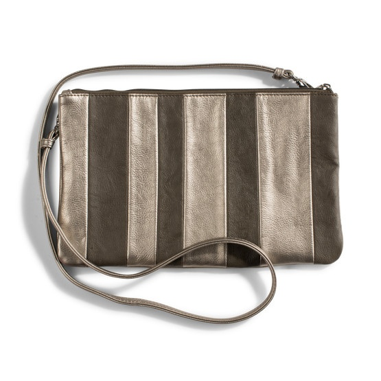 Beautiful metallic striped clutch with removable shoulder strap. Perfect for evenings out, it has a zip pocket inside for keep-safe items.