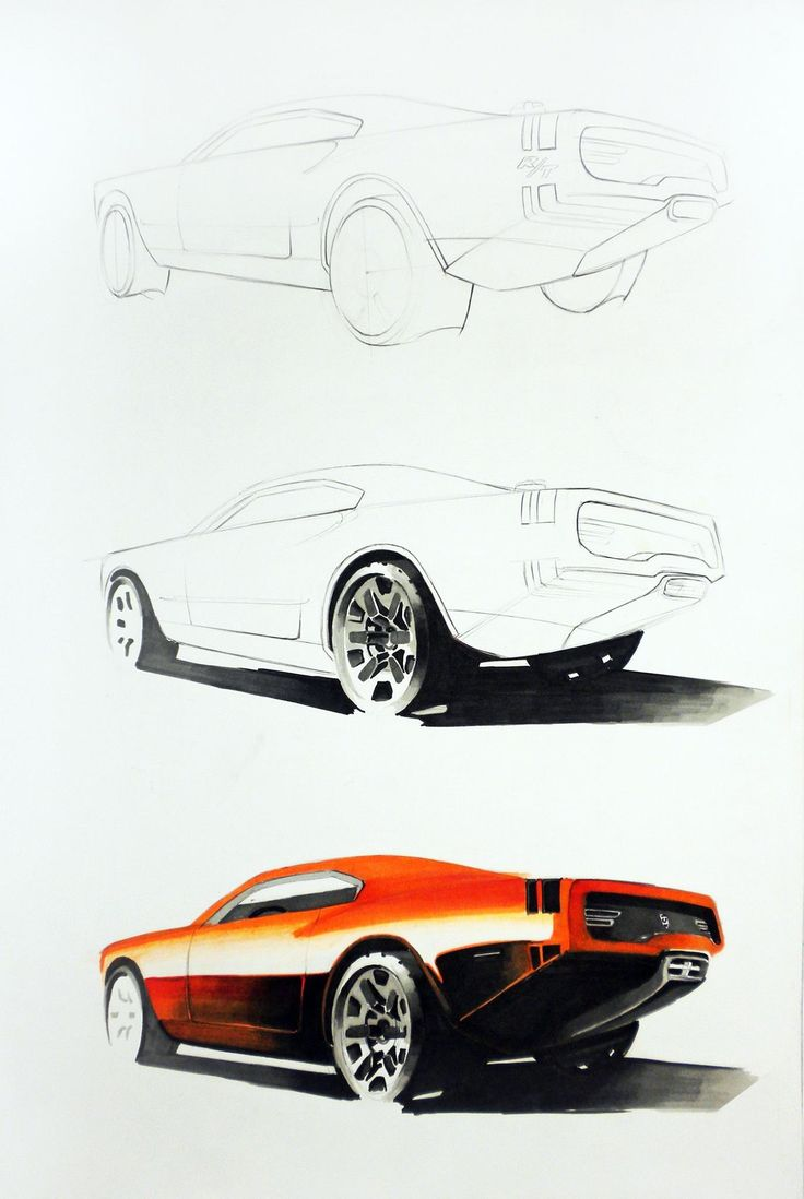 Dodge concept training sketches Markers 70x50cm drawn in 2010 by Aleksander Krupa