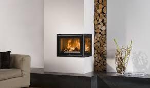 2 sided corner wood fireplace