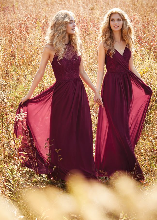 (Left) Burgundy chiffon A-line bridesmaid gown, halter lace illusion bodice, natural waist with gathered skirt, sheer illusion back. Bridesmaids Dresses: Junior, Maternity & Flower Girl Dresses by Jim Hjelm Occasions - Bridesmaids and Special Occasion Style jh5613 by JLM Couture, Inc.
