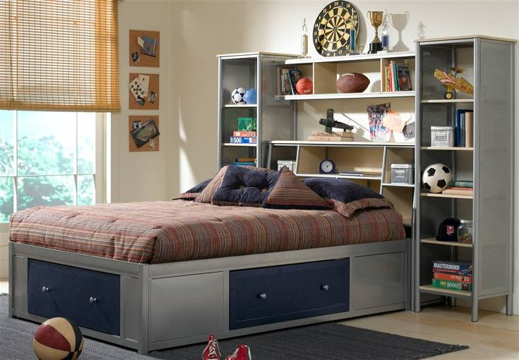 Platform Storage Bed With Bookcase Headboard And Wall Unit