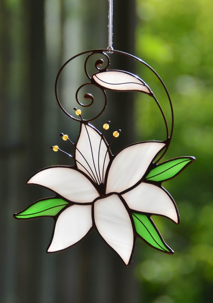 Stained glass flower suncatcher, white lily hanging decor, window decoration, garden ornament