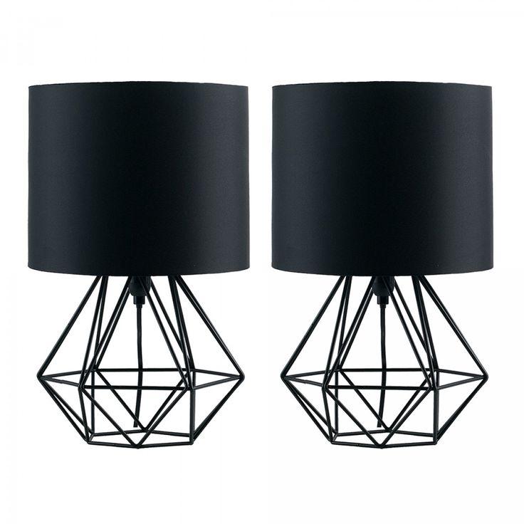Pair of Angus Geometric Satin Black Table Lamp with Black Shade